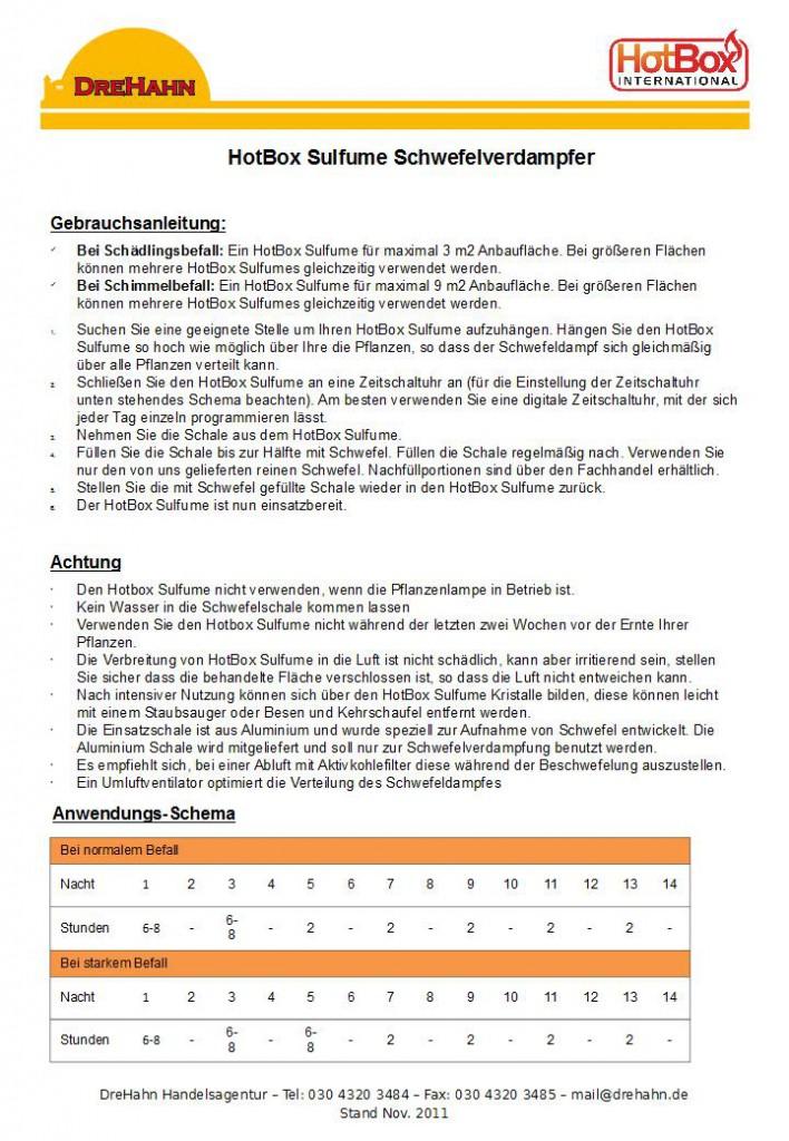 HotBox Sulfume Schwefelverdampfer Gebrauchsanleitung | Drehahn ...
